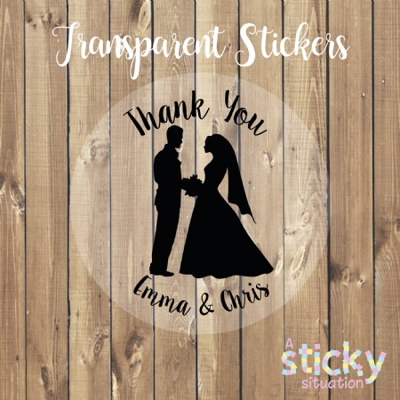 Personalised Transparent Wedding Stickers - Silhouette Design